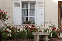Окно с цветками гераниума и роз стоковые фотографии rf