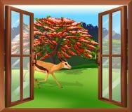 Окно с целью оленей снаружи иллюстрация вектора