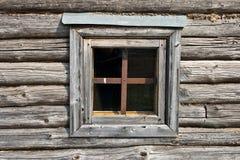 окно хаты деревянное Стоковое Фото