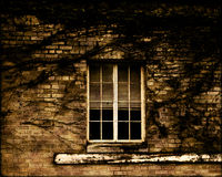 окно grunge кирпича Стоковая Фотография