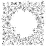 Оконтурите венок с стилизованными blossoming ветвями на белизне Черно-белый цвет иллюстрация штока