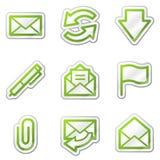 оконтурите сеть стикера серии почты икон e зеленую иллюстрация вектора