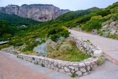 Окрестности маяка Punta Carena, Капри Стоковая Фотография
