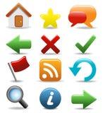 Округленные установленные иконы - кнопки сети и интернета Стоковое Изображение RF