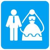 Округленный женихом и невеста квадратный значок растра иллюстрация вектора