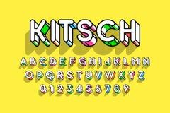 Округленный красочный ретро шрифт стиля 3d Стоковые Фотографии RF