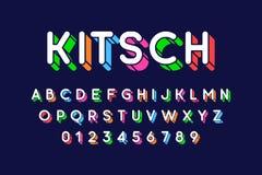 Округленный красочный ретро шрифт стиля 3d Стоковое фото RF