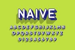 Округленный ретро шрифт стиля 3d Стоковые Фото