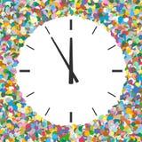 Округленная зона свободного текста сформированная красочного Confetti с часами Стоковое Изображение RF