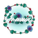 Округленная рамка лета с листьями и цветками Иллюстрация штока