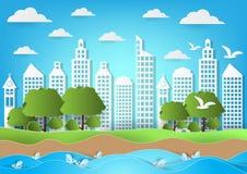 Окружающая среда города с предпосылкой моря и пляжа Бумажная иллюстрация вектора стиля искусства иллюстрация вектора