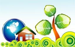 окружающая среда карточки идет зеленый цвет иллюстрация вектора