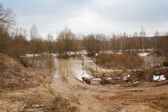 Окружающая среда потока моста реки проселочной дороги, flooding, стихийное бедствие Стоковые Фотографии RF