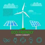 Окружающая среда, элементы экологичности infographic Значки ветротурбины и панелей солнечных батарей иллюстрация штока
