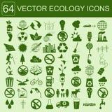 Окружающая среда, комплект значка экологичности Экологические риски, экосистема Стоковые Фотографии RF