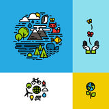 Окружающая среда, экологичность, установленные концепции зеленой планеты красочные Стоковое Фото