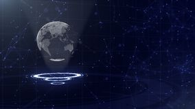 Сеть передачи данных Окружая земля планеты на 3 закрепляя петлей кругах Левое распределение 3d r r o иллюстрация штока