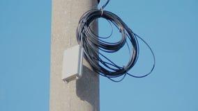 Окруженный черный электрический кабель на штендере бетона армированного на небе сток-видео