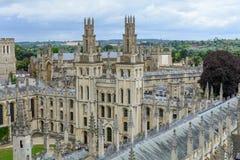 Оксфорд, Великобритания - 21-ое августа, все души коллеж, ООН Оксфорда Стоковые Фото