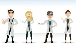 4 доктора в пальто лаборатории Иллюстрация вектора