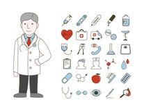 доктор с значками иллюстрация штока