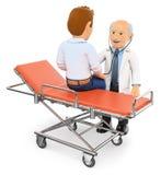 доктор 3D auscultating пациент на каталке Стоковая Фотография