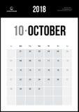 Октябрь 2018 Минималистский календарь стены Стоковые Изображения RF
