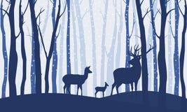 Олени в изображении вектора леса зимы wildlife иллюстрация вектора