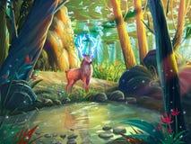 Олени в лесе с фантастическим, реалистическим и футуристическим стилем иллюстрация штока
