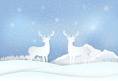 Олени в сельской местности и снежинке Зимний отдых, предпосылка рождества иллюстрация вектора