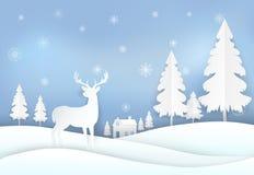 Олени в сельской местности и снежинке Стиль искусства бумаги предпосылки рождества бесплатная иллюстрация