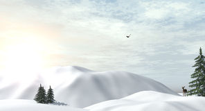 Олени в снежном wintertime Стоковое Изображение