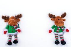 Олени игрушки рождественской елки на снеге С экземпляр-космосом Стоковая Фотография