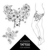 Олени нарисованные рукой реалистические окруженные цветками Красивое сильно детальное изолированное художественное произведение в Стоковые Фото
