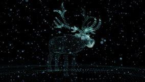 Олени рождества праздничные светящих пунктов Иллюстрация компьютера в ультра современном акции видеоматериалы
