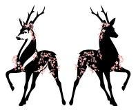 Олени среди дизайна вектора цветения Сакуры весны Иллюстрация штока