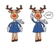 2 оленя в пальто и мультфильме шарфа изолированных на белой предпосылке иллюстрация вектора