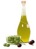 оливка масла бутылки Иллюстрация штока