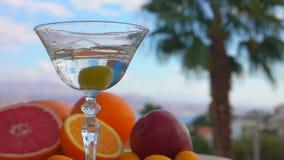 Оливка падает в стекло с Мартини на предпосылке цитрусовых фруктов сток-видео