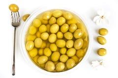 оливки marinaded зеленым цветом Стоковые Фотографии RF