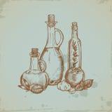 Оливковое масло нарисованное рукой в стеклянных бутылках иллюстрация штока
