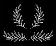 Оливковые ветки и венок стиля мела белые иллюстрация штока