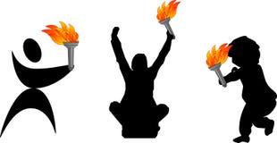олимпийский факел силуэтов Стоковые Изображения