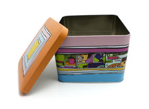 олово коробки цветастое декоративное Стоковая Фотография RF