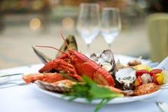 Омар морепродуктов на таблице Стоковое Изображение RF