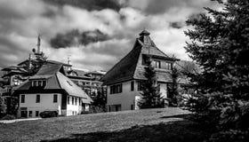2 дома в черно-белом драматическом пейзаже Стоковое Изображение