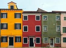 3 дома в Burano Стоковая Фотография