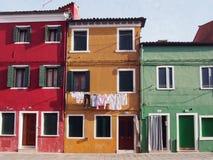 3 дома в Burano Стоковые Изображения