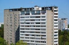 2 дома кирпича в взгляд сверху административной единицы Zelenograd, Москвы Стоковое Изображение