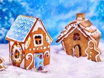 2 дома печенья и человек пряника Стоковые Фотографии RF